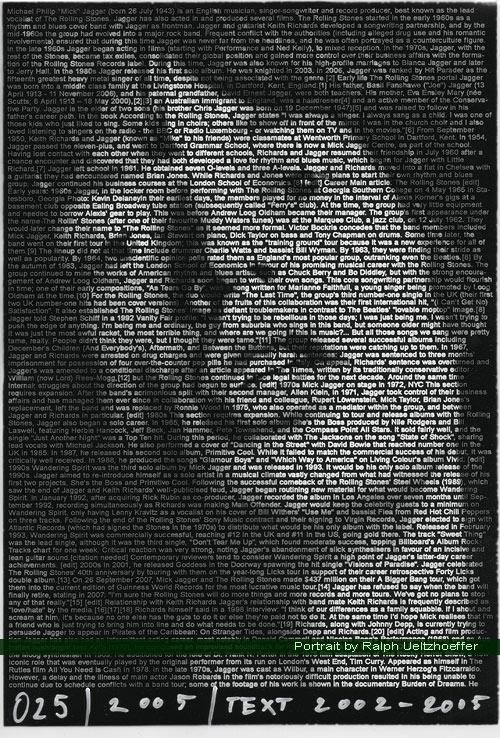 Mick Jagger, Ralph Ueltzhoeffer Textportrait