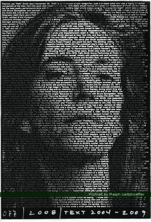Patti Smith, Ralph Ueltzhoeffer Textportrait