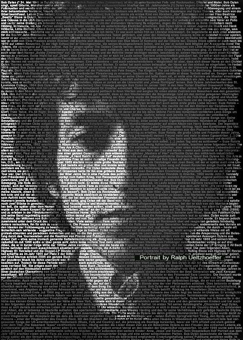 Bob Dylan, Text Portrait, Ralph Ueltzhoeffer (*1941)