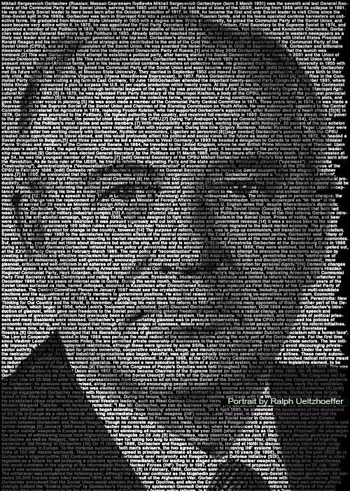 Mikhail Gorbachev, Text Portrait, Ralph Ueltzhoeffer (*1931)