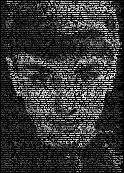 Audrey Hepburn, Text Portrait, Ralph Ueltzhoeffer (*1929)