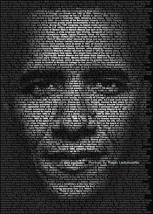 Barack Obama, Text Portrait, Ralph Ueltzhoeffer (*1961)