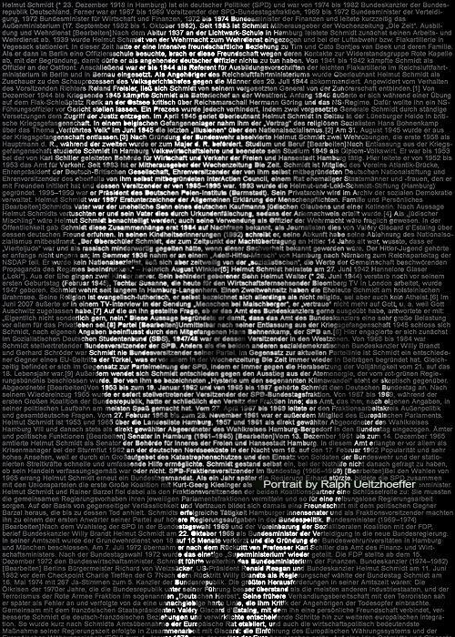 Helmut Schmidt, Text Portrait, Ralph Ueltzhoeffer (*1918)