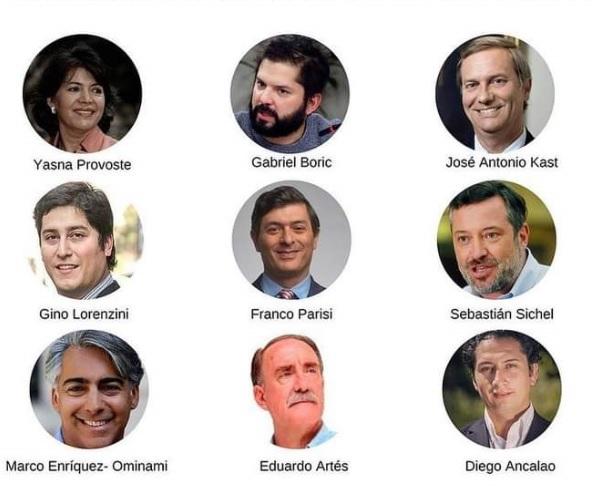 Los 9 candidatos que buscan llegar a La Moneda