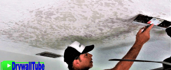 How to repair skip trowel texture on a water damaged drywall ceiling