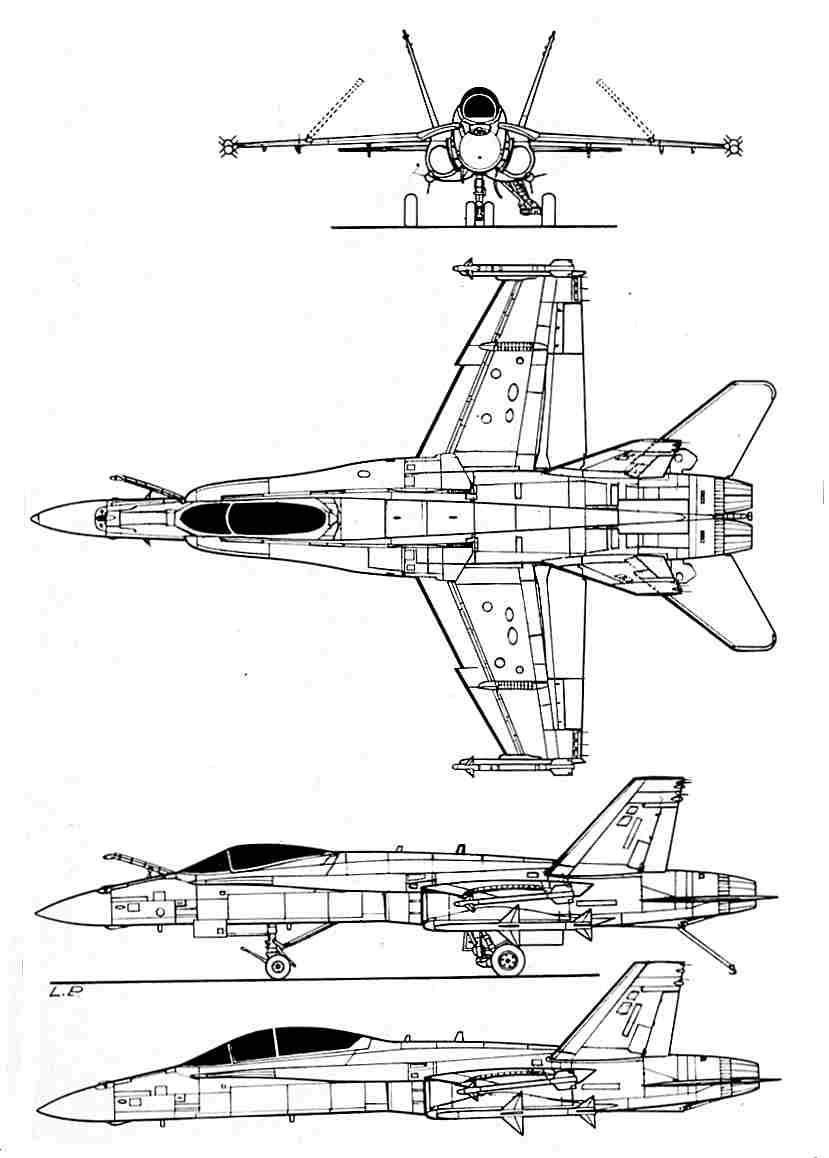 Suche Zeichnung 4-Seitenansicht F/A 18 C