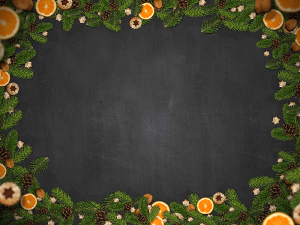Free Christmas Border With Fir Orange And Cookies Nature