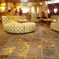 Many hotel lobbies use beautiful tile or stone patterns in their lobbies. Similar looks are quite popular in many custom homes.