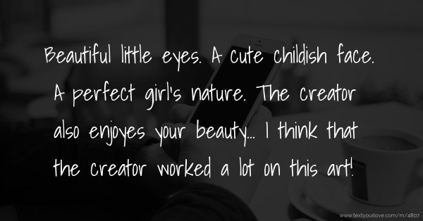 Beautiful little eyes. A cute childish face. A perfect ...