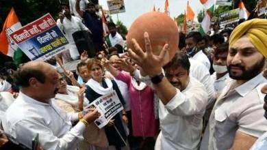 Delhi bjp congress protest