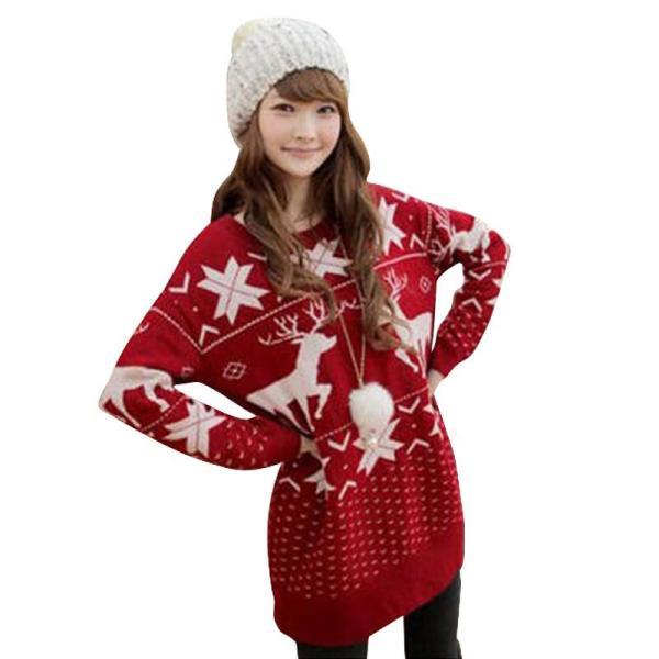 Womens Vintage Christmas Reindeer Snowflake Knitted