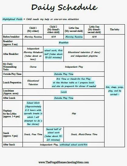 daily homeschool schedule template