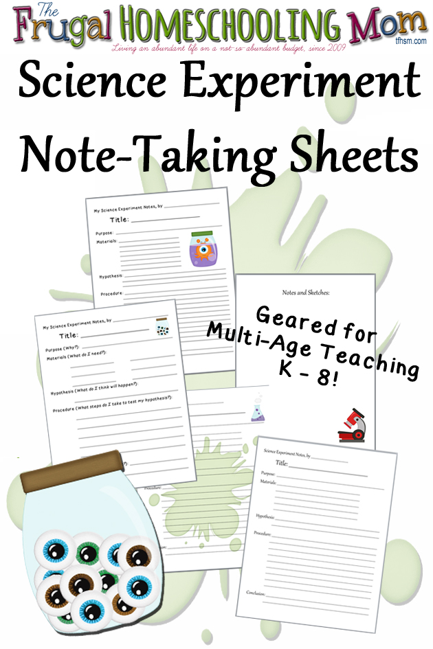 Frugal Homeschool Family Science Experiment Note-Taking Sheets copy