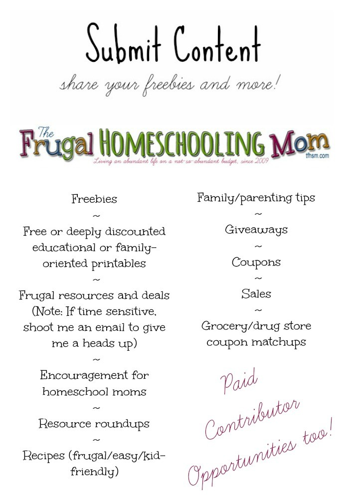 Submit your freebies printables content on TFHSM The Frugal Homeschooling Mom p