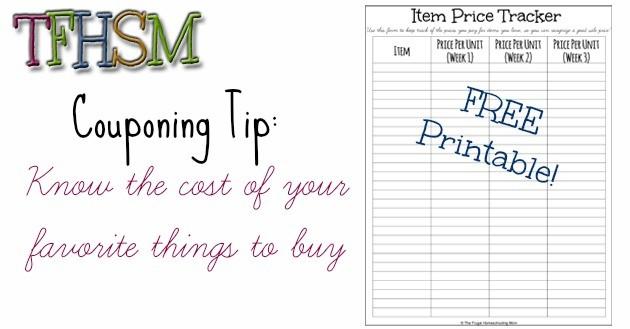 The Frugal Homeschooling Mom Printable Item Price Tracker