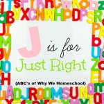 ABCs of Why We Homeschool I J is for Just Right