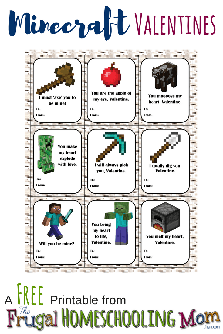 Free homeschool printable Minecraft Valentines The Frugal Homeschooling Mom TFHSM