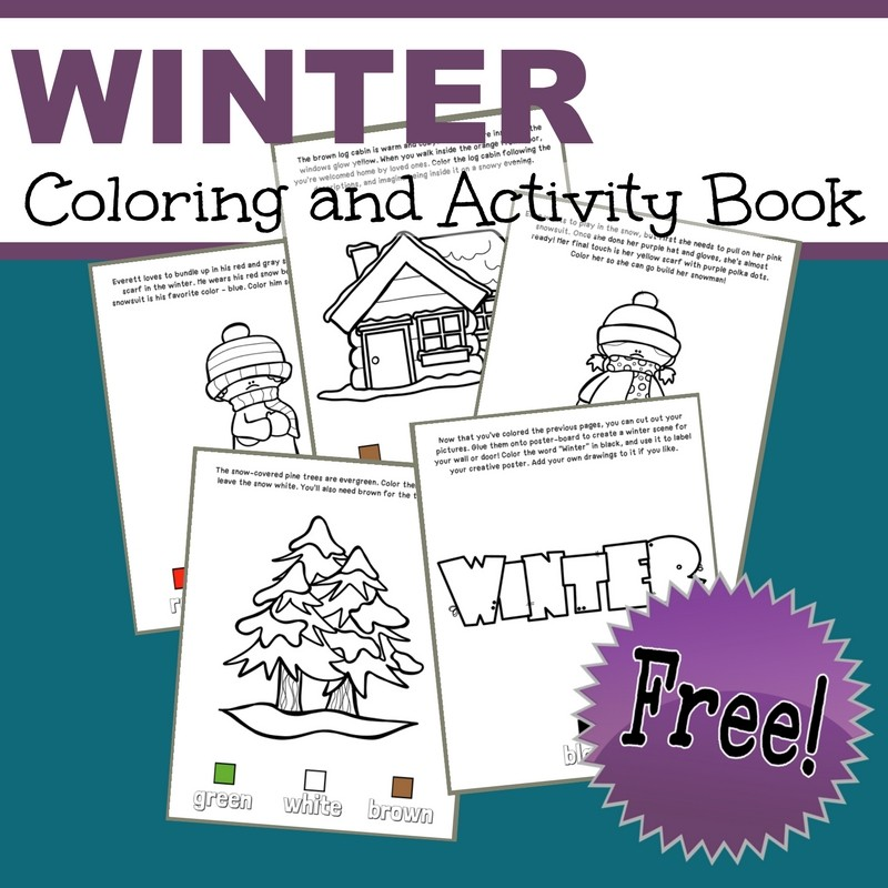 Free Winter Coloring and Activity Book - learn colors and cut and paste s