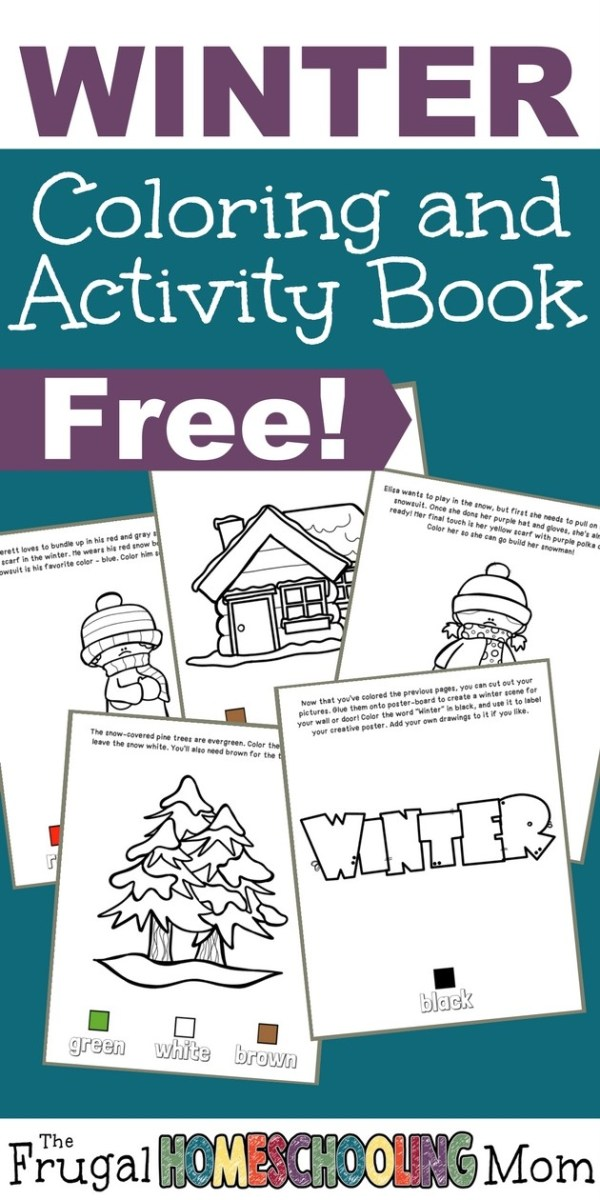 Free Winter Coloring and Activity Book - learn colors and cut and paste