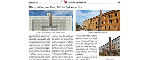 High-Profile Nov 2017 TFMoran Preserves Piano Mill for Residential Use