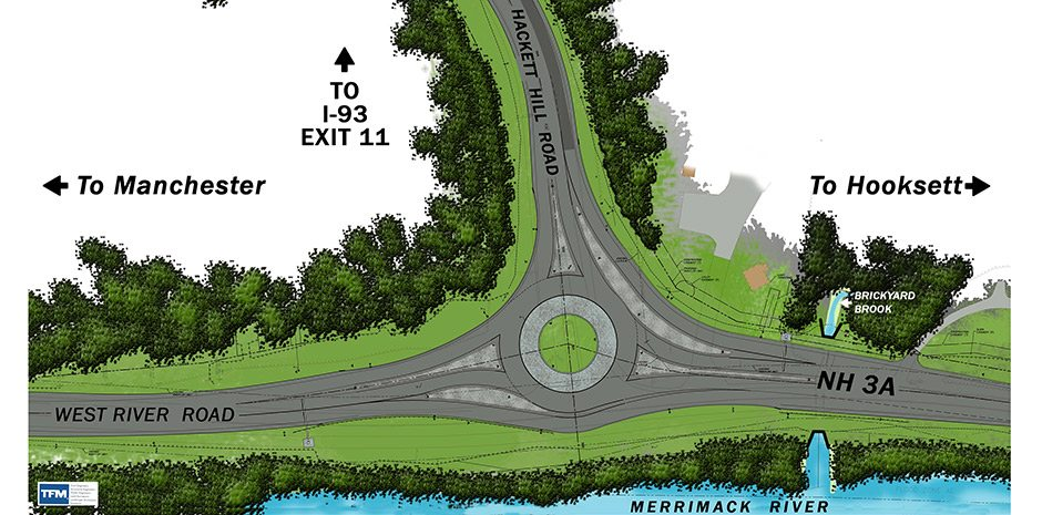 Hooksett, NH Roundabout - Hackett Hill Rd/3A/I-93 Exit 11