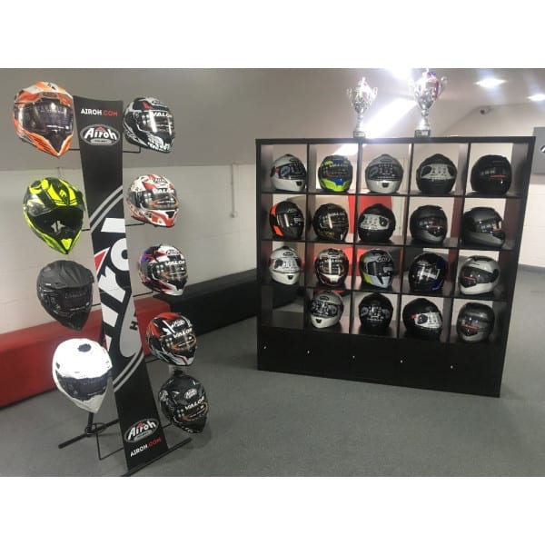 Helmets on display