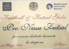 La Pro Nissa futsal premiata al Football&futsal Gala