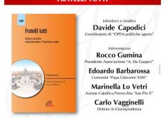 "Venerdì 30 ottobre in diretta Facebook: ""Proporre una forma di vita dal sapore di Vangelo"". Presentazione dell'enciclica di Papa Francesco Fratelli tutti."