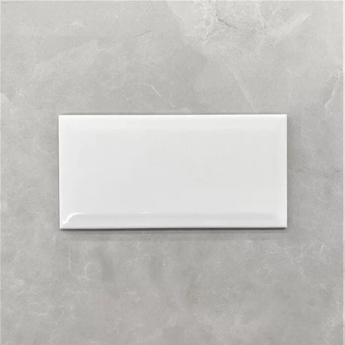 bevelled edge gloss white subway wall tile 4112