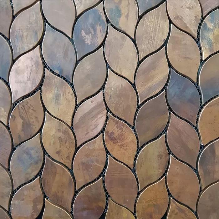 290x278mm bronze leaf mosaic 7428