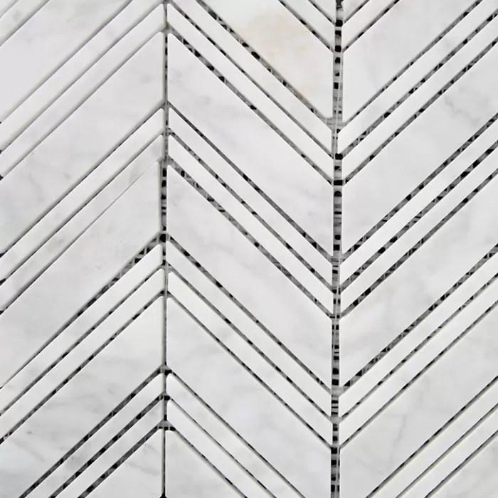 290x300mm chevron honed carrara marble mosaic 7077