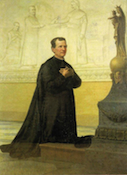 Saint John Bosco prays to Our Lady Help of Christians