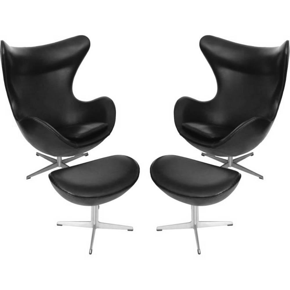 jacobsen egg chair leather ergonomic small early arne w ottoman black pr tftm melrose