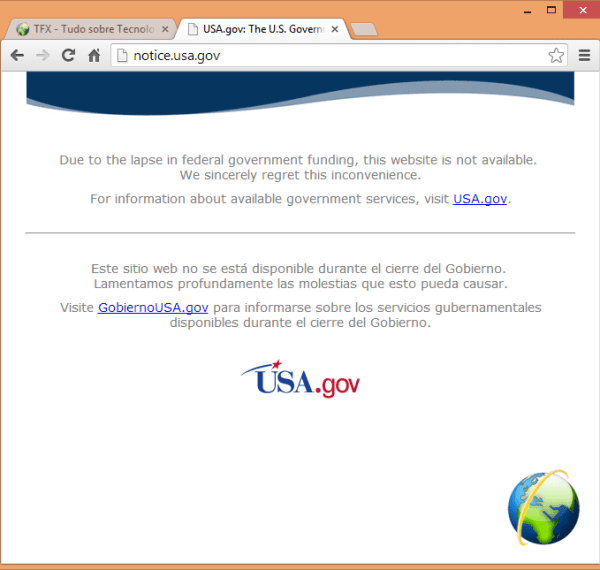 Site da NASA fora do ar. The NASA webpage not found.
