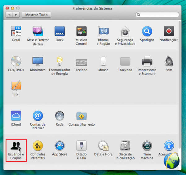 Tela: Preferências de Sistema do Mac OS X Mavericks