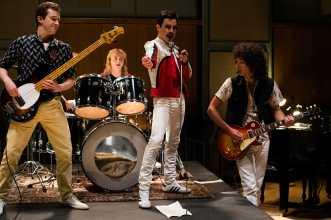 L-R: Joe Mazzello (John Deacon), Ben Hardy (Roger Taylor), Rami Malek (Freddie Mercury), and Gwilym Lee (Brian May) star in Twentieth Century Fox's BOHEMIAN RHAPSODY. Photo Credit: Alex Bailey.