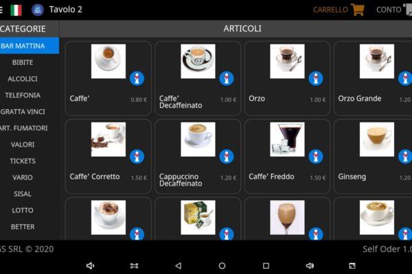 SelfOrder | Modulo di ordinazione da tavolo. Interfaccia semplice e intuitiva per la gestione del Menu interattivo