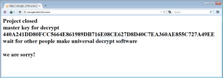 L'immagine della videata con la quale di autori di TeslaCrypt hanno rilasciato la Master Decryption Key