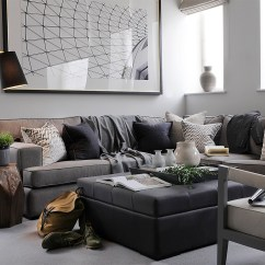 Large Square Corner Sofa Wall Piero Lissoni Urban Image Shows Extra 5 Seater In City Herringbone Silver Grey