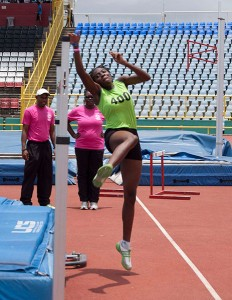 Khemani Roberts in action in the Girls Under 20 high jump on the first day of the Secondary Schools Track and Field Championships at the Hasely Crawford Stadium, Mucurapo (April 15, 2015).