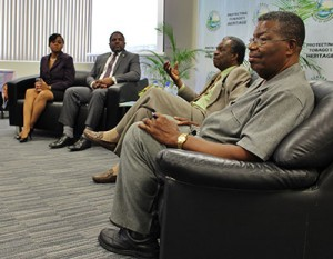 Second from right: THA Chief Secretary Orville London addressing a question posed by an intern at the YES Self Governance Discussion. At the far right is Former Chief Secretary, Mr. Hochoy Charles. Far left is YES Asst. Programme Director-Ms. Shamfa Cudjoe and Secretary of Finance-Mr. Joel Jack respectively.