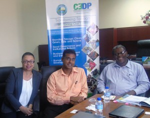 Left – right Ms Gisele Telfer, Public Education Administrator and Mr Ronald Roach, General Manager of Operations, SWMCOL, meet with Dr Elton Bobb, Coordinator, CEDP Secretariat to discuss waste management opportunities for Tobago.