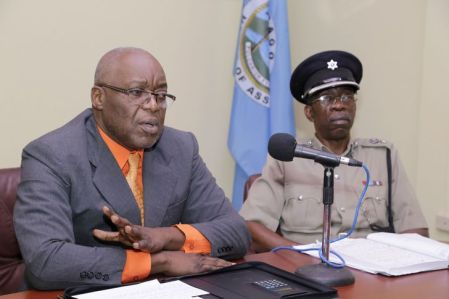 Chief Secretary Kelvin Charles, left, and acting Assistant Commissioner Garfield Moore, head of the Tobago Division of the TTPS, issue a joint statement following a meeting at the Office of the Chief Secretary in Calder Hall on Monday (February 13).
