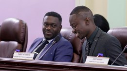 Minority leader Watson Duke, left, Assemblyman for Roxborough and his colleague Farley Augustine, Assemblyman for Parlatuiver, L'Anse Fourmi, at the THA Legislature meeting on Thursday (Feb 9, 2017)