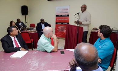THA Chief Secretary Kelvin Charles addresses members of the Tobago Division of the Trinidad and Tobago Chamber of Industry andCommerce.