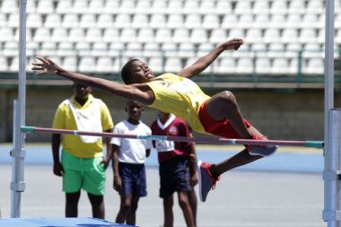 Jonathan Marks of Montgomery Government school leaps 1.2m, which was the winning effort in the boys under 13 high jump.