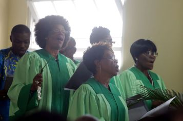 Members of the Moriah Moravian Church choir perform during the event.