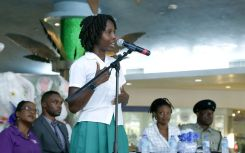 Spoken Word artiste Crystal Skeete commands the attention of the crowd with her performance.