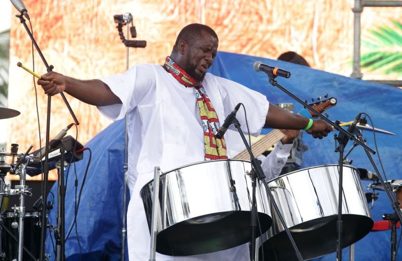 Siparia-based pannist Akinola Sennon gets into his performance during the event.