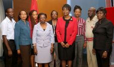 The Facilities Review Committee (Homes for Older Persons). From left are public health inspector III Ricardo Bobb, Ingrid Salandy-Allan, economist III Natalie Cummings-Moses, deputy chairman Maria Rosalina Harte (Tobago Division, Trinidad and Tobago Police Service), Michelle Edwards-Benjamin (secondary care nursing manager Scarborough General Hospital), Health Secretary Councillor Dr. Agatha Carrington, senior social worker Donnalyn Harry, fire station officer Garth Jacob, and woman police officer Suzette Woods-James. Missing is chairman, Dr. Chima Ezejifor (acting medical officer I, Office of the County Medical Officer of Health).